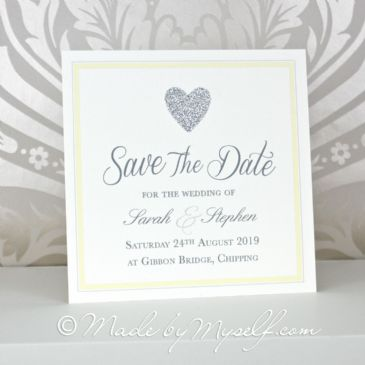 Simple Glitter Heart Save The Date